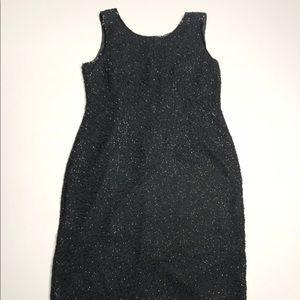 JMD New York Dresses - VTG 80's/90's Black Glass Beaded Shift Dress